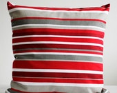 Pilow case in Red Gray and White stripes Custom size