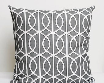 Designer Pillow Cover - decorative pillows - pillow throws - 14x14 Dwell Studio, grey gate print  0205