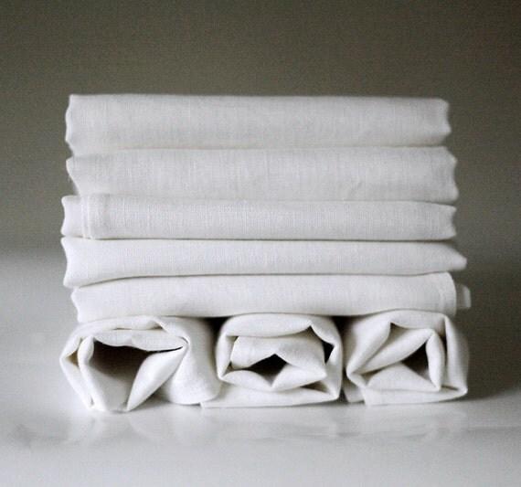 White napkins / linen dinner napkins set of 8 for table decor or events / napkins reusable   0229
