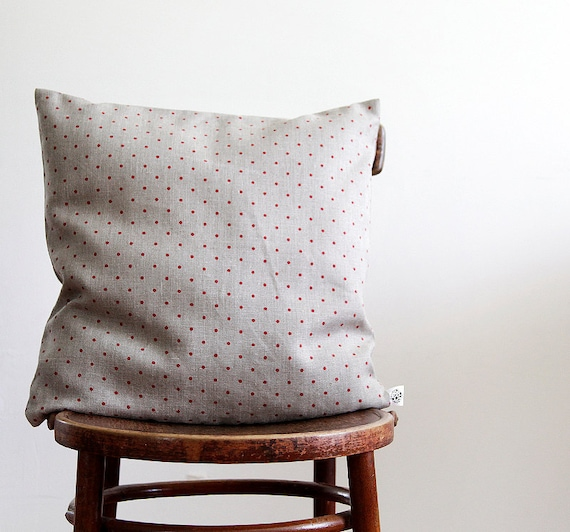Linen pillow cover - decorative covers - shams - throw pillows - polka dot pattern- 18x18   0107