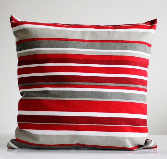Red pillow cover - throw pillows - decorative covers - 16x16 - natural cotton fabric with stripes