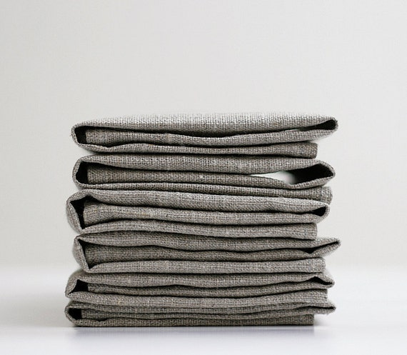 Linen napkin set of 8 for Christmas day gift finds - gray white green or red natural linen fabric 18x18