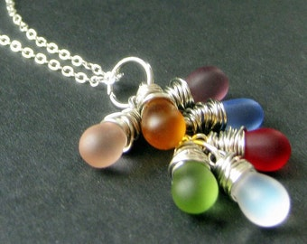 Teardrop Cluster Pendant. Silver Wire Wrapped Necklace with Frosted Glass Teardrops. Handmade Jewelry.