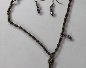 Vintage Style mirror back necklace and earring set