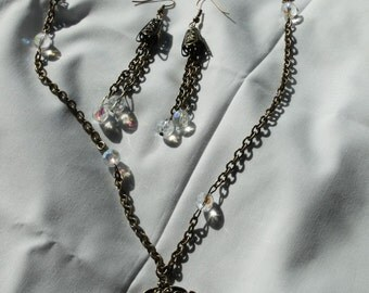 Vintage style Silouhette necklace earring set  OOAK