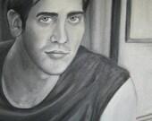 Jake Gyllenhaal portrait in oil paint Black and White SALE