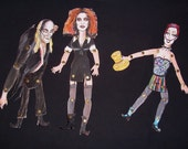 Rocky Horror Picture Show paper dolls --- Riff Raff, Magenta, and Columbia