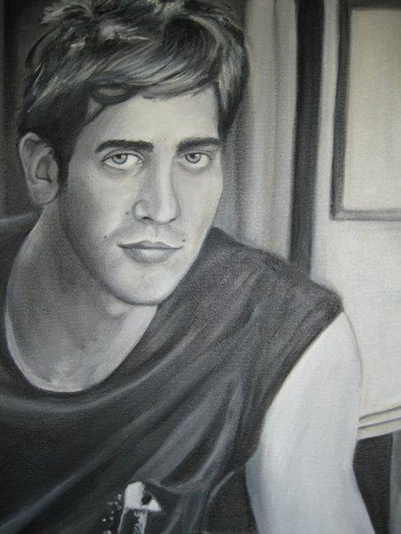 Jake Gyllenhaal portrait in oil paint Black and White SALE