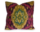 Iman Ubud Tourmaline Ikat Decorative Pillow Cover in Purple, Fuchsia, Green - Accent Pillow - Throw Pillow - Designer Pillow