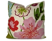 Decorative Pillow Cover - Floral Pillow - Gorgeous Petal in Purple, Red, Green, Olive, Brown, Aqua & Pink - Throw Pillow