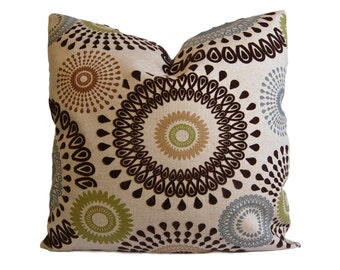 Brown, Olive, and Slate Suzani Decorative Pillow Cover - Throw Pillow - Accent Pillow - 18x18 20x20 22x22 or Lumbar Sizes