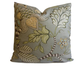 ON SALE - Floral Pillow Cover in Gray, Green and Taupe - Clarice Dove Decorative Pillow Cover - Accent Pillow - Throw Pillow