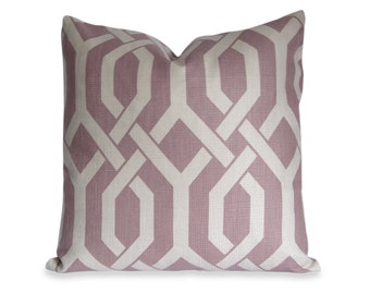 Trellis Decorative Pillow Cover in Amethyst Purple and Oatmeal - Accent Pillow - Sofa Pillow