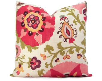 Suzani Pillow Cover - Silsila Cherry Ikat in Red, Pink, Green, and Purple - Decorative Pillow - Accent Pillow - Lumbar and Square