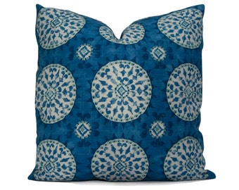 Blue Ikat Decorative Pillow Cover - Suzani Medallion Pillow Cover in Teal and Vivid Shades of Blue - Accent Pillow
