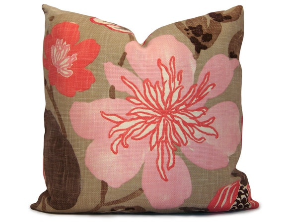 Items similar to Floral Pillow Cover in Pink, Coral, Taupe, Brown - Decorative Pillow - Throw ...