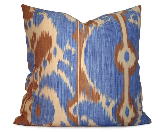 Brunschwig & Fils Bayadere Ikat Pillow Cover in Corn Flower Blue and Brown - Decorative Pillow - Accent Pillow - Throw Pillow