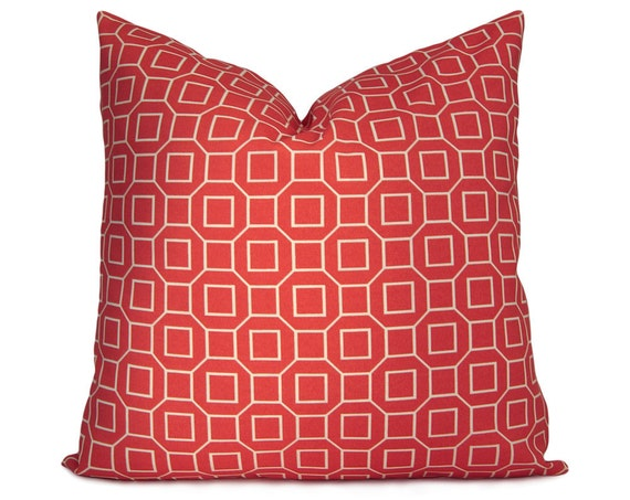 Indoor/Outdoor Decorative Pillow - Lattice Pillow Cover in Tangerine and Ivory - Throw Pillow - Accent Pillow