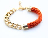 Arm candy - Half and Half: Gold chunky chain and Orange Silk Bracelet - 24k gold plated