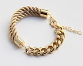 Half and Half: Gold chunky chain and Brown Silk Bracelet - 24k gold plated