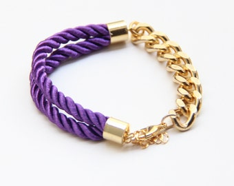 Arm candy - Half and Half: Gold chunky chain and Purple Silk Bracelet - 24k gold plated