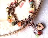 Artisan Bracelet, Gemstones, Wood Art Tile, Boho Bracelet, Heart Charm, Spring, Shabby Chic Jewelry