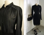 Vintage 70s black shirt/ shiny silky black stripes shirt/ button down dress shirt by Chorus Line Exclusive to Ricki's