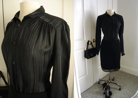 Vintage 70s black shirt/ shiny silky black stripes shirt/ button down dress shirt by Chorus Line Exclusive to Ricki's