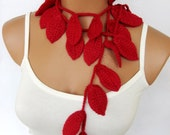 Discount sale,Crochet ivy, red rubby ivy leafs Lariat Scarf. Fashion Flower Scarves, Necklace...
