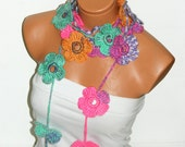 Handmade crochet colorful  Flower Lariat Scarves.  Fashion Flower Scarves, Necklace...  Multicolor lariat scarf for spring