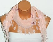 Personalized Design Soft Pink Scarf. Turkish Fabric Fringed Guipure Scarf ..bandana,headband,wedding,bridal,authentic, romantic, elegant,