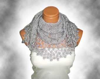 Hand knit shawl silvery gray. Fashionable shawl. Personalized weave design. Stole, capelet, shawl for woman. February trends...