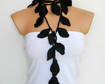 Black scarves,Hand made crochet black ivy leafs Lariat Scarf. Fashion Flower Scarves, Necklace...
