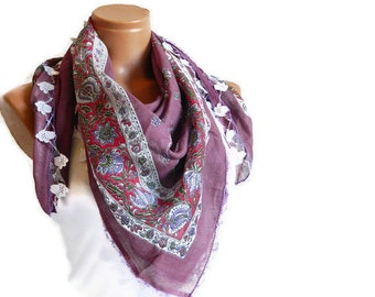 Dark pink Scarf,Multicolor Turkish Yemeni OYA Scarf ..bridal,scarf,authentic, romantic, elegant, fashion,