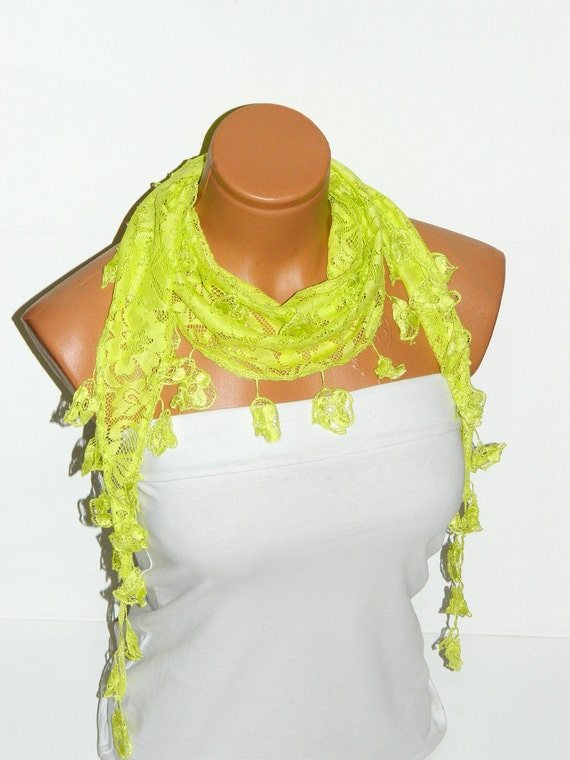 Guipure scarf, neon green Scarf. Turkish Fabric Fringed Guipure Scarf ..bandana,headband,wedding,bridal,authentic, romantic,