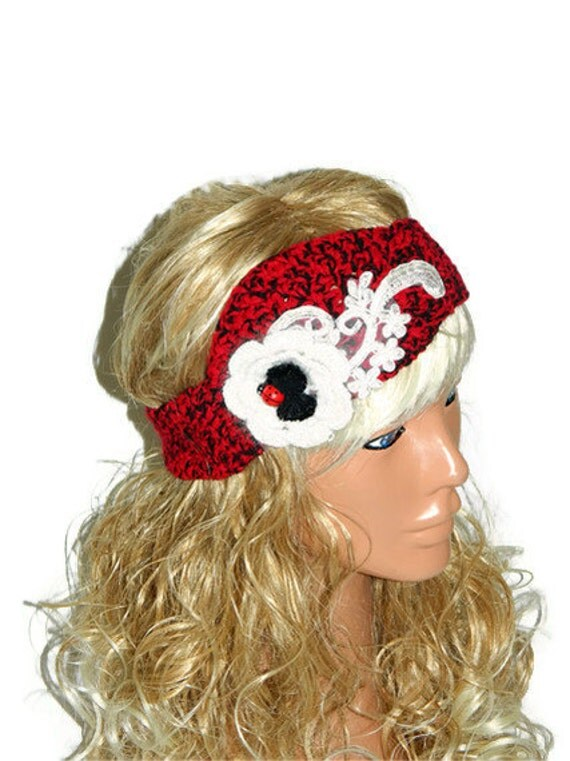 Red Black White Crochet Headband, adult headband, 2014 trends, fashionable custom headband