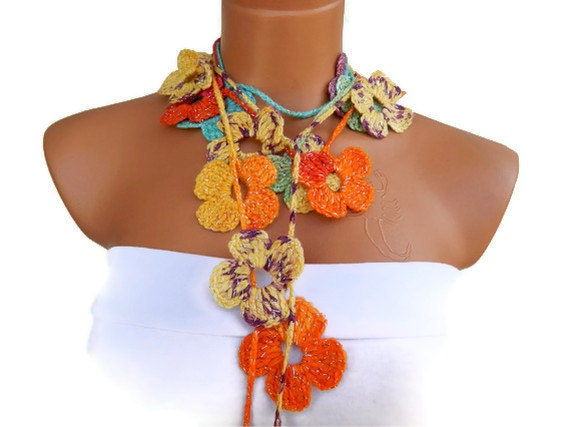 crochet colorful  Flower Lariat Scarf. Fashion Flower Scarves, Necklace...  Multicolor lariat scarf for spring