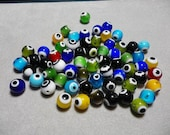 Evil Eye Glass Round Beads 10mm