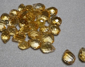 Golden Yellow Citrine Faceted Briolette Beads 9mm - 11mm