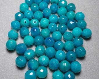 Blue Candy Jade Faceted Round Ball Beads 10mm