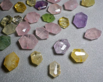 Multi Gemstone Rare Hexagon Shape Faceted Beads