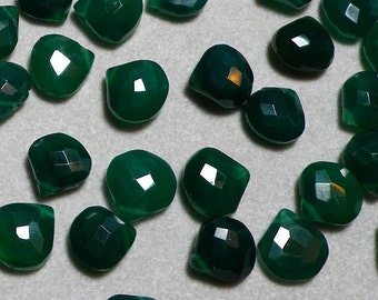 Green Onyx Color Chalcedony Quartz Faceted Briolettes 12mm - 13mm