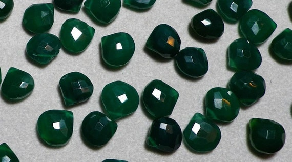 Green Onyx Color Chalcedony Quartz Faceted Briolettes 9mm-10mm