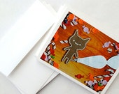 Christmas Card 10 Pack: Cookie Cat Greeting Cards, Gingerbread Man Xmas Cards, Kawaii / Cute Holiday Greeting or Invitations
