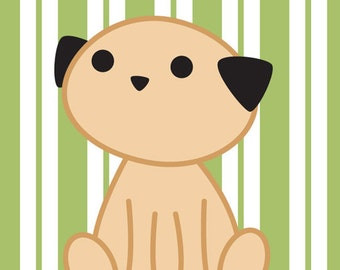 Cute Puppy Dog Pug with Green Striped Background Art Print, Nursery Decoration