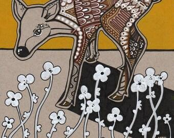 Deer drawing - deer and flowers - deer art - flower art - contemporary art - fine art - art for nursery - bohemian decor - Mama Trifolium