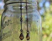 Light Dangle Grazers With Vintage Brass And Swarovski Crystal Chandelier Charm