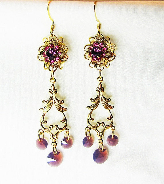 Purple and pink earrings Swarovski crystal and gold filigree Chandelier earrings Shoulder duster earring Delicate beaded jewelry