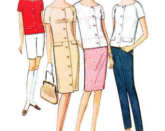 """1965 Vintage Weekender McCall's 7799, Button Front Sheath Dress, Wide Neck Top, Capri Pants and Bermuda Shorts, Size 12, Bust 32"""""""