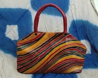 Vintage Leather Psychedelic Tooled Handbag
